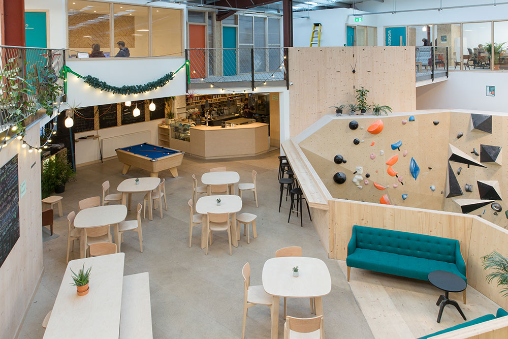 The interior of Yonder, a major new climbing centre install in Walthamstow, London.