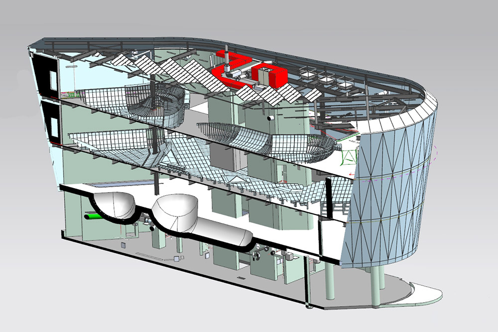 Screenshot from Siemens NX, showing a complete digital twin building, modelled in CAD down to component fixings level, and including BIM aspects such as services, HVAC etc.