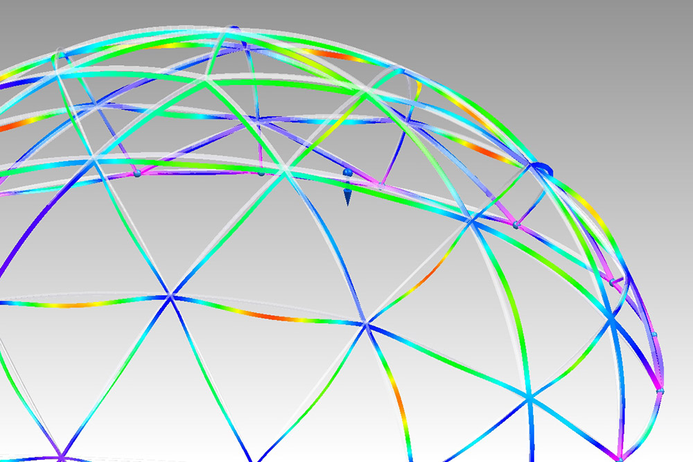 Finite Element Analysis (FEA) made with Siemens NX showing the stress and deflection of structural members in a geodeisic dome