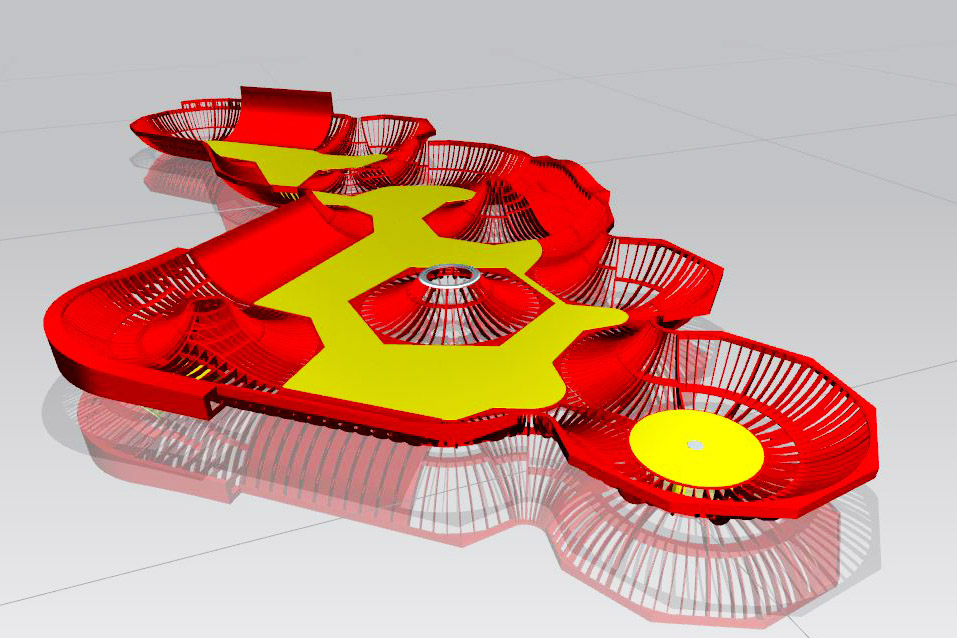Cad assembly of the full structure of a skatepark, showing the lattacework down to component level