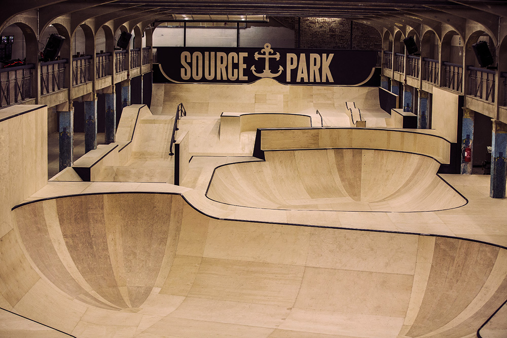 Overhead view of the Source Park skatepark facility in Hastings, East Sussex. The largest underground skatepark in the world.
