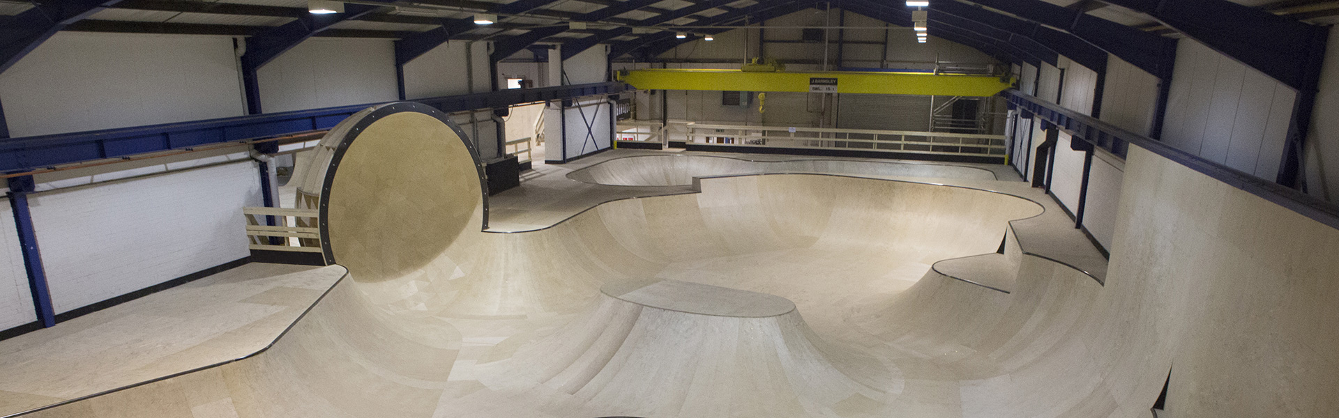 Overhead view of Unit 360 in Stourbridge, showing the main bowl section with the groundbreaking 'pod' hemisphere ramp