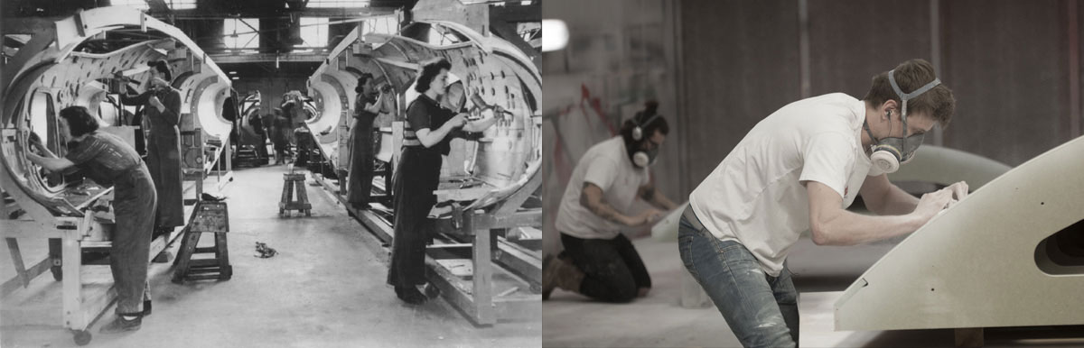 Period photograph of Mosquito production line (left) juxtaposed with contemporary photo of Cambian technicians in our workshop