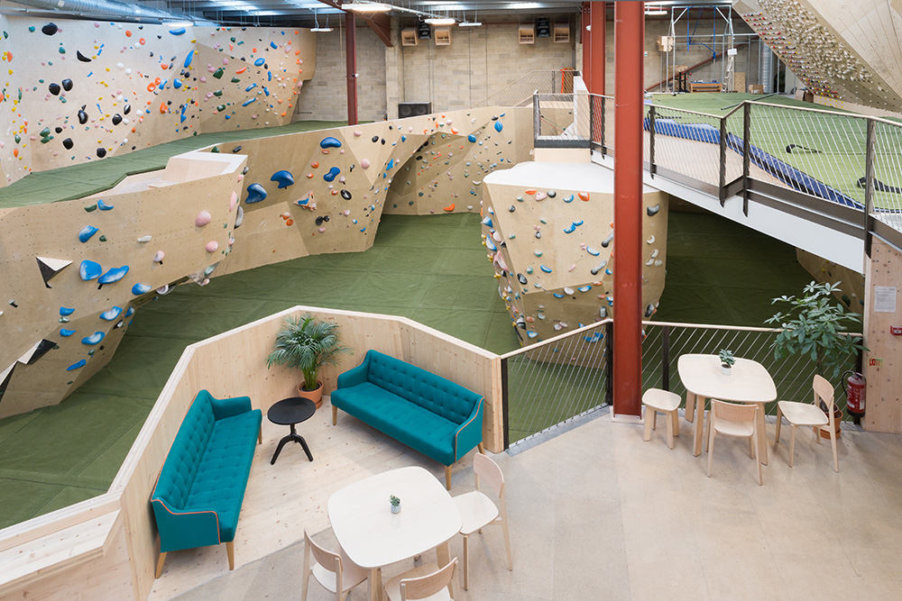 Overhead view of Yonder, a major new climbing centre install in Walthamstow, London. Showing mezzanine structure and climbing walls below